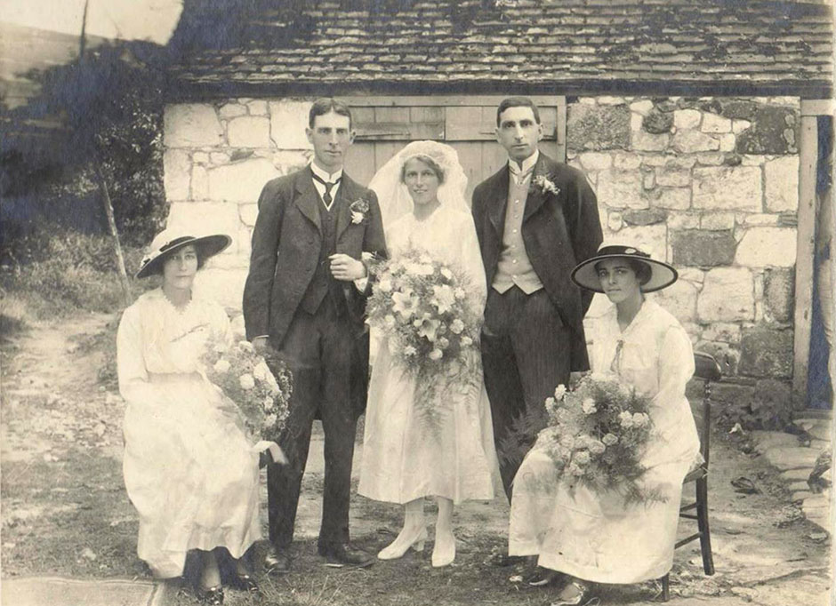The wedding in 1916.  With the couple are (L-R) Con Quinton (cousin to Rosalie), Leonard Child (brother to Stewart) and Amy Child (sister to Stewart and mother of Helen Barton/Kegie).