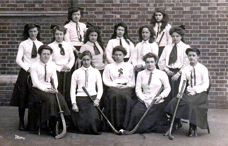 Rosalie in the school hockey team, about 1908.  She is the second from the right in the middle row.