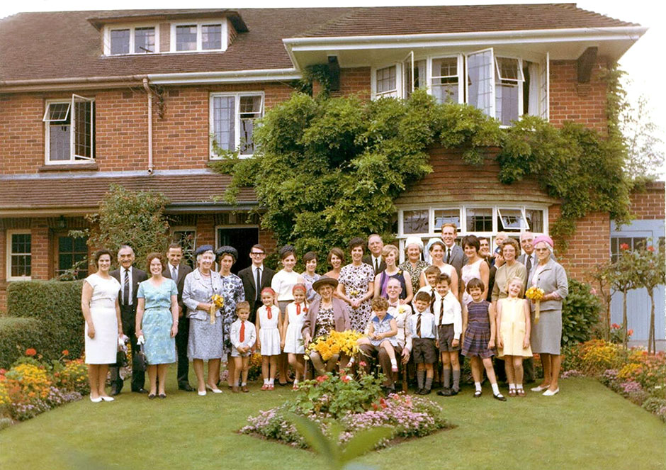 The same wedding group in 1966 at the Golden Wedding in Devizes