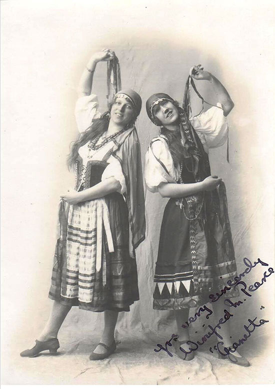 Rosalie (left) appearing in 'The Gondoliers' in Devizes, about 1927